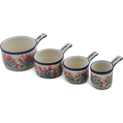 Polish Pottery Set of 4 Measuring Cups  Crimson Bells