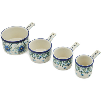 Polish Pottery Set of 4 Measuring Cups  Forget Me Not