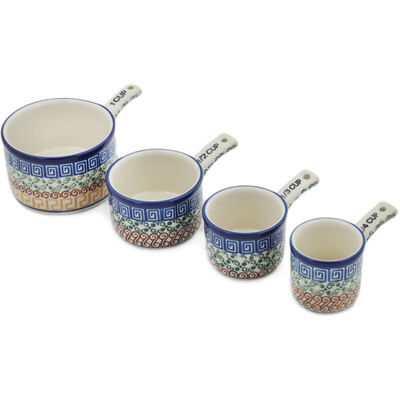 Polish Pottery Set of 4 Measuring Cups  Grecian Sea