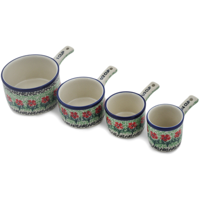 Polish Pottery Set of 4 Measuring Cups  Maraschino