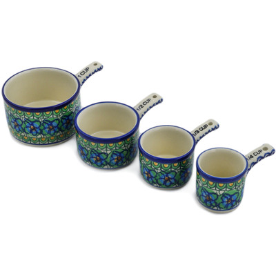 Polish Pottery Set of 4 Measuring Cups  Mardi Gra UNIKAT