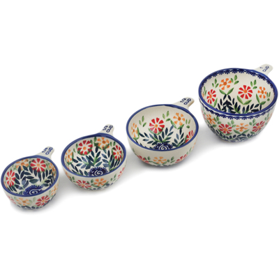 Polish Pottery Set of 4 Measuring Cups Wave Of Flowers