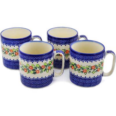 Polish Pottery Set of 4 Mugs Elegant Garland