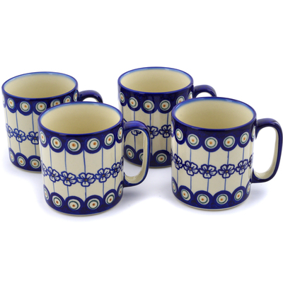 Polish Pottery Set of 4 Mugs Flowering Peacock