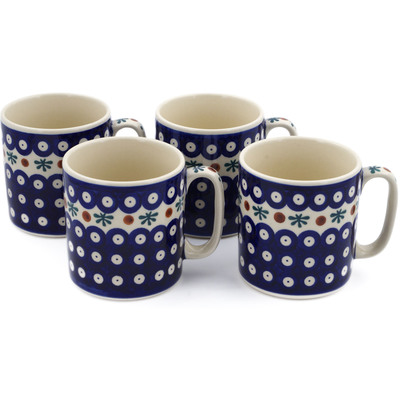 Polish Pottery Set of 4 Mugs Mosquito