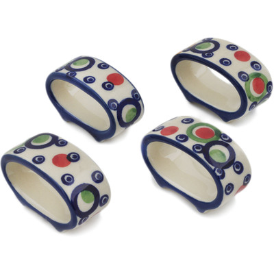 Polish Pottery Set of 4 Napkin Rings Bubble Machine UNIKAT