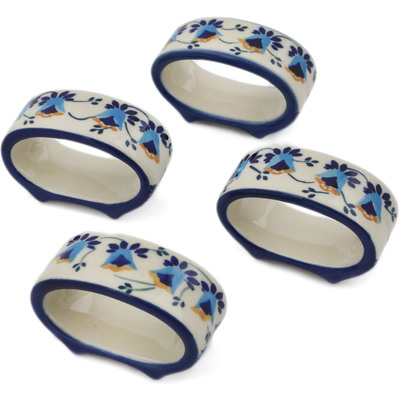 Polish Pottery Set of 4 Napkin Rings Campanula Flower UNIKAT