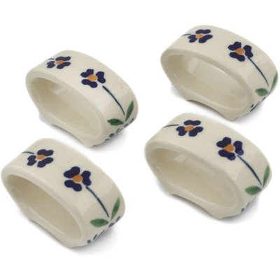 Polish Pottery Set of 4 Napkin Rings Mariposa Lily