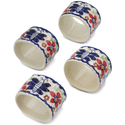 Polish Pottery Set of 4 Napkin Rings Red Flower Meadow