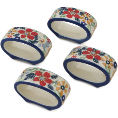 Polish Pottery Set of 4 Napkin Rings Summer Bouquet UNIKAT