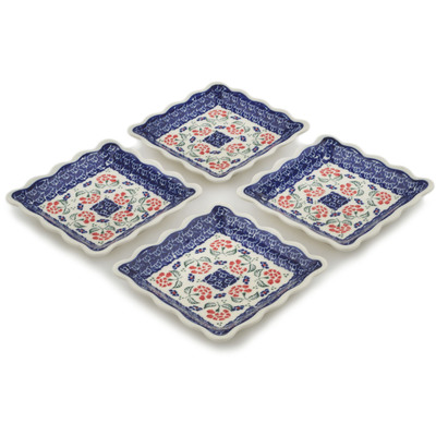 Polish Pottery Set of 4 Platters Poppies In The Wind