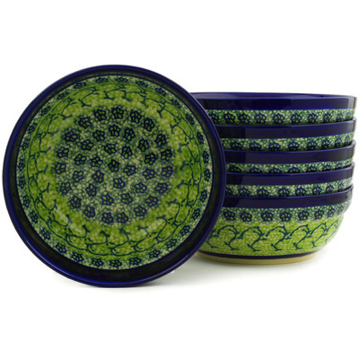 "Polish Pottery Set of 6 Bowls 7"" Emerald Forest"