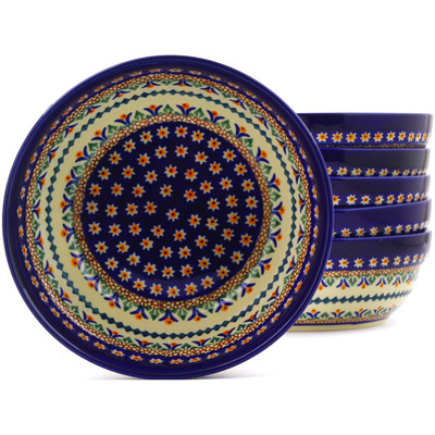 "Polish Pottery Set of 6 Bowls 7"" Floral Peacock UNIKAT"