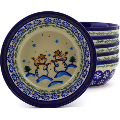 "Polish Pottery Set of 6 Bowls 7"" Friendly Snowmen"