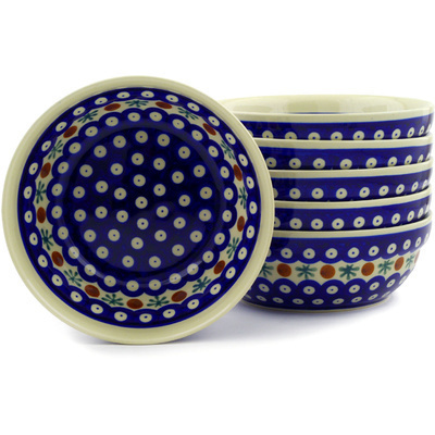 "Polish Pottery Set of 6 Bowls 7"" Mosquito"
