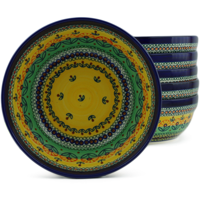 "Polish Pottery Set of 6 Bowls 7"" Prairie Sunrise UNIKAT"