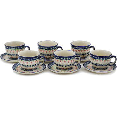 Polish Pottery Set of 6 Cups with Saucers Tulips And Diamonds