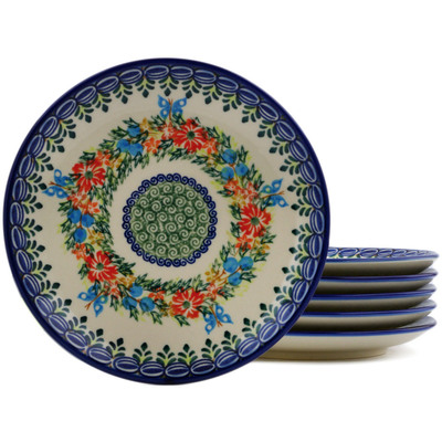 Polish Pottery Set of 6 dessert plates Ring Of Flowers UNIKAT