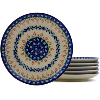 Polish Pottery Set of 6 dessert plates Tulips And Diamonds