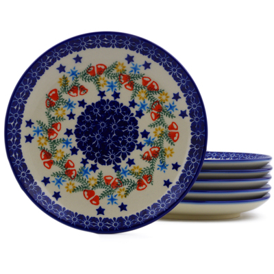 Polish Pottery Set of 6 dessert plates Wreath Of Bealls