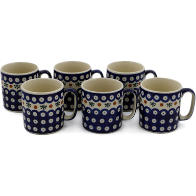 Polish Pottery Set of 6 Mugs Mosquito