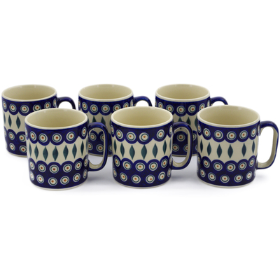 Polish Pottery Set of 6 Mugs Peacock