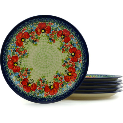 "Polish Pottery Set of 6 Plates 11"" Garden Meadow UNIKAT"