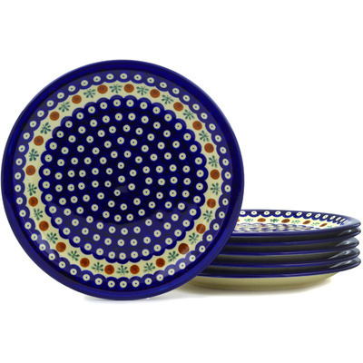 "Polish Pottery Set of 6 Plates 11"" Mosquito"
