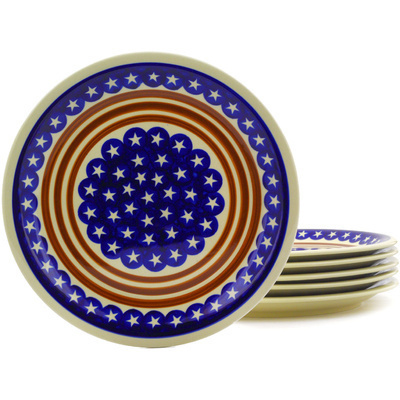 "Polish Pottery Set of 6 Plates 11"" Stars And Stripes Forever"