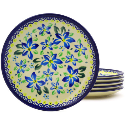 "Polish Pottery Set of 6 Plates 7"" Blue Clematis"