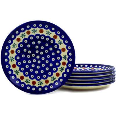 "Polish Pottery Set of 6 Plates 7"" Mosquito"