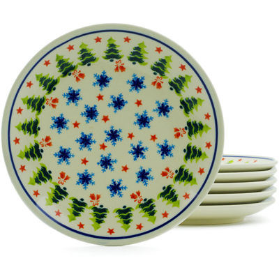 "Polish Pottery Set of 6 Plates 7"" Winter Land"