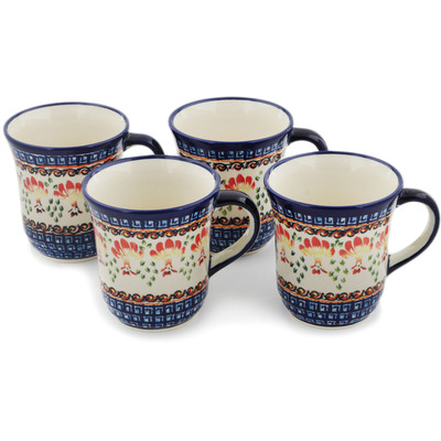 Polish Pottery Set of Four 10oz Mugs  Blooming Red