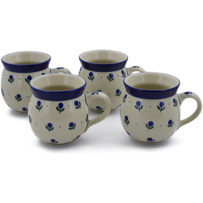 Polish Pottery Set of Four 12 oz Bubble Mugs Blue Buds