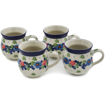 Polish Pottery Set of Four 12 oz Bubble Mugs Flower Crown