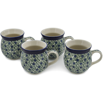 Polish Pottery Set of Four 12 oz Bubble Mugs Lobelia Vines