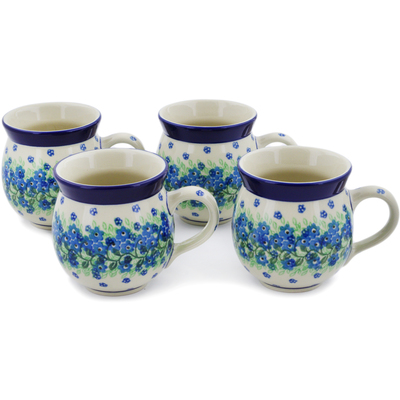Polish Pottery Set of Four 12 oz Bubble Mugs Ring Of Garland