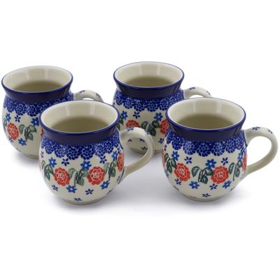 Polish Pottery Set of Four 12 oz Bubble Mugs Rose Burst