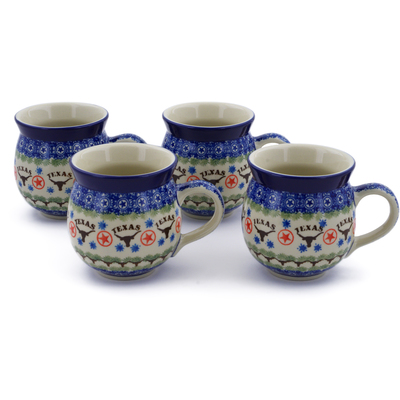 Polish Pottery Set of Four 12 oz Bubble Mugs Texas Longhorns