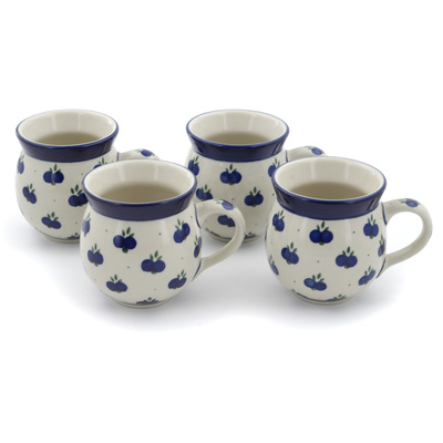 Polish Pottery Set of Four 12 oz Bubble Mugs Wild Blueberry