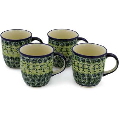 Polish Pottery Set of Four 12oz Mugs Emerald Forest