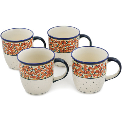 Polish Pottery Set of Four 12oz Mugs Russett Floral