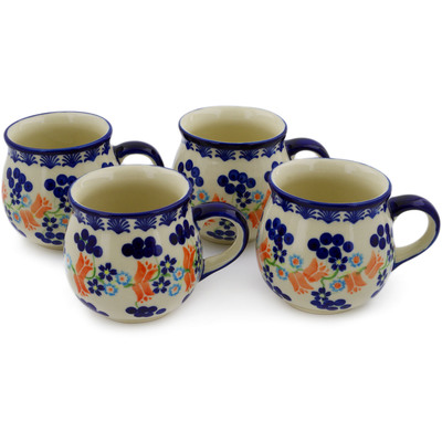 Polish Pottery Set of Four 12oz Mugs Tulip Berries