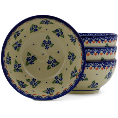 Polish Pottery Set of Four 5-inch Bowls Daisy Dollops