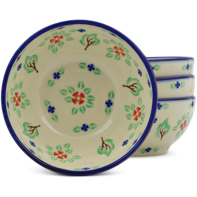 Polish Pottery Set of Four 5-inch Bowls Falling Leaves