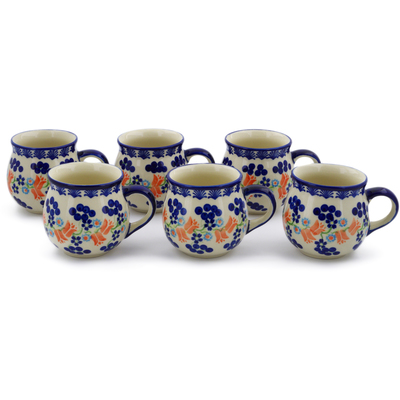 Polish Pottery Set of Six 12oz Buggle Mugs Tulip Berries