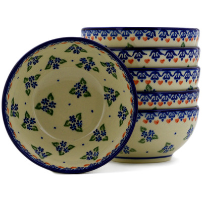 Polish Pottery Set of Six 5-inch Bowls Daisy Dollops