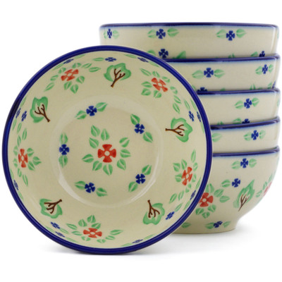 Polish Pottery Set of Six 5-inch Bowls Falling Leaves