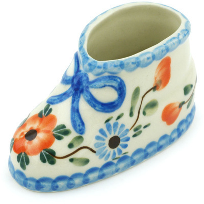 "Polish Pottery Shoe Figurine 4"" Cherry Blossoms"