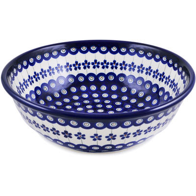 "Polish Pottery Sink Bowl 17"" Flowering Peacock"